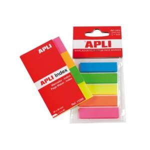 APLI Jelölőcímke, műanyag, 5x25 lap, 12x45 mm, , 5 szín