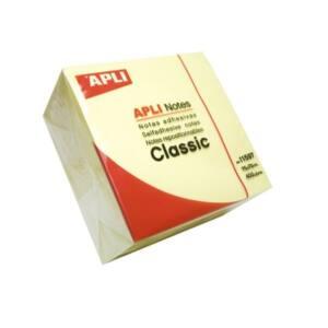 APLI Öntapadó jegyzettömb, 75x75 mm, 400 lap, , sárga