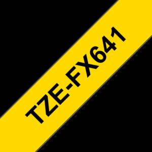 """BROTHER Festékszalag TZe-FX641, Sárga alapon Fekete, Flexibilis, 18mm  0.7"""", 8 méter"""